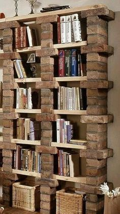 Plans of Woodworking Diy Projects - Creative Beginners Friendly Woodworking DIY Plans At Your Fingertips With Project Ideas, Tips and Tricks Get A Lifetime Of Project Ideas & Inspiration! Apartment Bookshelves, Bookcase, Bookshelf Ideas, Book Shelves, Bookshelf Decorating, Decorating Ideas, Book Storage, Decorating With Nature, Storage Ideas