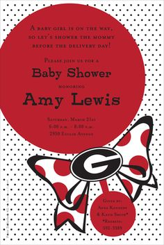 University of Georgia Bulldog Baby Rattle Shower Invitations