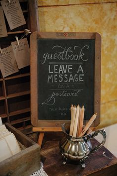 vintage silver for guest book pen holder. Love the old school chalkboard slate for the guest book sign! Guest Book Table, Guest Book Sign, Wedding Guest Book, Wedding Blog, Diy Wedding, Dream Wedding, Wedding Ideas, Chalkboard Signs, Chalkboards