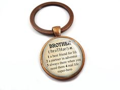 Antique Copper Brother Key Chain Dictionary Definition Keychain for Brother Best Friend >>> Details can be found by clicking on the image.