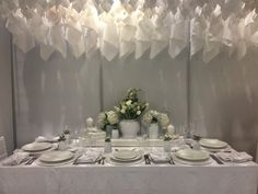 white on white Table Decorations, Furniture, Home Decor, Decoration Home, Room Decor, Home Furnishings, Arredamento, Dinner Table Decorations, Interior Decorating