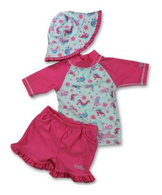 Another great find on #zulily! Pink Seahorses Rashguard Set - Infant, Toddler & Girls #zulilyfinds