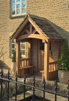 Made in Oak Porches Cottage Front Doors, House Front Porch, Cottage Porch, House Entrance, Oak Front Door, Back Doors, Front Door Canopy, Porch Canopy, Porch Roof Design