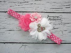 Baby Headband Infant Headband Minnie by JoMazingAccessories Diy Headband, Baby Girl Headbands, Baby Bows, Shabby Flowers, Fabric Flowers, Minnie Mouse Bow, Diy Bow, Diy Hair Accessories, Disney Crafts