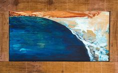 """Overhead Abstract.Acrylic on wood panelwithreclaimed wood frame made by the artist.17""""x9"""" (20""""x12.5"""" with frame)."""