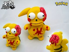 Zombie Pikachu by Dee Raa Arts polymer clay cute kawaii sculpey fimo pokemon pika https://www.facebook.com/DeeRaaArts