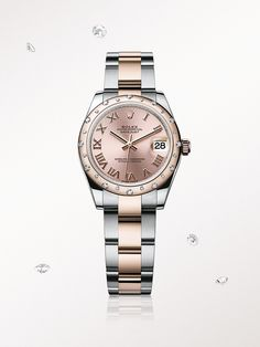 The Rolex Lady-Datejust 31 in steel and Everose gold, with a pink dial and Oyster bracelet.