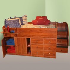 Sierra Captainu0027s Full Bed With Drawers, Cabinet U0026 Stairs By Berg Furniture  FREE SHIPPING