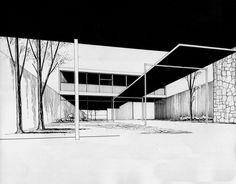 Perspectiva, Casa Habitación 1956  México D.F  Arq. Manuel Rosen