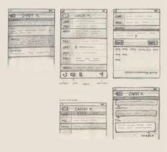 Sketched Wireframes - Mobile UI for Ember