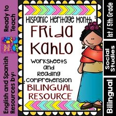 This set of worksheets and reading comprehension are related to the Hispanic Heritage Month with a special version of Frida Kahlo. In this set, you will find the following activities:1. A reading text (short biography) of the leader.2. Reading comprehension questions sheet.3.