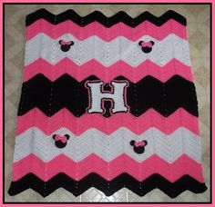 Crochet Minnie Mouse Applique birthday Ripple blanket for Haleigh 4-6-2016