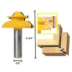 45° Medium Lock Stile and Rail Steel Router Cutter Bit 3/4'' Stock 1/2'' Shank •…
