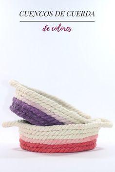 Cómo hacer cuencos de cuerda de colores Crafts, Ideas, Paper Pot, Ropes, How To Make, Paper Envelopes, Colors, Manualidades, Handmade Crafts