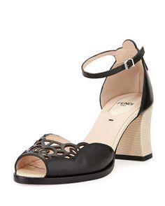 Chameleon+65mm+Ankle-Wrap+Sandal,+Black/Multi+by+Fendi+at+Neiman+Marcus.
