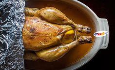 Receta de Pollo CUK asado relleno de alubias y chorizo