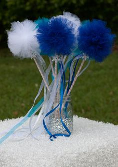 Frozen Party Princess Pom Pom Tulle Wands Centerpiece Table Decoration Set of 6