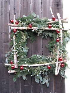 Square Wreath Birch Wreath by JCMiller Studios Noel Christmas, Country Christmas, Winter Christmas, All Things Christmas, Christmas Wreaths, Winter Wreaths, Simple Christmas, Christmas Wedding, Christmas Projects