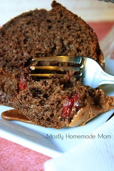 Mostly Homemade Mom: Cherry Chocolate Cake with Fudge Frosting