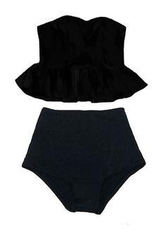 Black Long Top und schwarze hohe Taille Taille unten zweiteiligen Bikini zweiteiliger Badeanzug Bademode schwimmen Baden Anzug Kleid tragen Anzüge S M