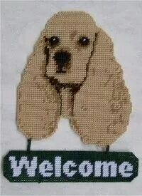 COCKER SPANIEL WELCOME SIGN by PLASTIC-CANVAS-KITS.COM 1/3