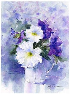 Chinese and Japanese painting Watercolor Projects, Watercolor Drawing, Watercolor Artists, Watercolor Landscape, Abstract Watercolor, Watercolor Illustration, Watercolor Flowers, Painting & Drawing, Japanese Painting