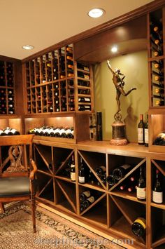 wine cellar with racking and diamond bins