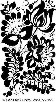 Vector - black and white flowers and leaves. Floral design element in retro style - stock illustration, royalty free illustrations, stock clip art icon, stock clipart icons, logo, line art, EPS picture, pictures, graphic, graphics, drawing, drawings, vector image, artwork, EPS vector art