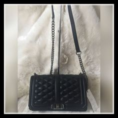 NWT Rebecca Minkoff LOVE Crossbody BLACK Quilted Leather Black Hardware $295…