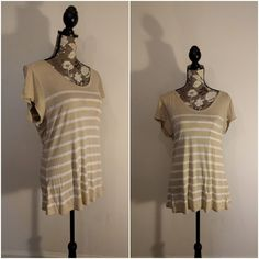 Old Navy Shirt Top Pullover Tan and White Striped Short Sleeve Shirt Size L #OldNavy #Shirt SMOKE FREE HOME  If you have any questions or concerns about your item(s) upon receipt, please message me so that I may address them - Your satisfaction is my HIGHEST priority!  Payment by PayPal, Please.  INTERNATIONAL PURCHASERS - You are responsible for all customs and shipping fees, internationally - International purchases are sent via eBay Global Shipping program - mail time can take longer when…