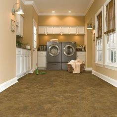 Armstrong Stratamax Value Plus Musty Majestic Residential Vinyl Sheet Flooring, Sold by 12 ft. Wide x Custom - The Home Depot Laundry Room Colors, Large Laundry Rooms, Flooring Store, Basement Flooring, Flooring Ideas, Flooring Options, Laminate Flooring, Vinyl Sheet Flooring, Basement Laundry
