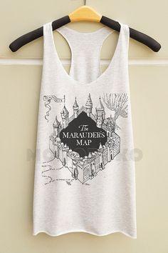 S M L -- The Marauder's Map Shirts Harry Potter Map TShirts Potter Top Women Tank Top Racer Shirts Racer Tank Top Women TShirts Women Shirts