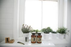 The bathroom window sill featuring a line of Swedish apothecary products.