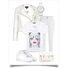 Day in white by chicmisses on Polyvore featuring Forever 21, Topshop, Paige Denim, NIKE, The Leather Satchel Co. and FOSSIL