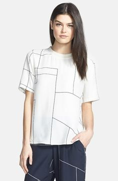 Theory 'Klima' Back Button Geometric Print Silk Top available at #Nordstrom