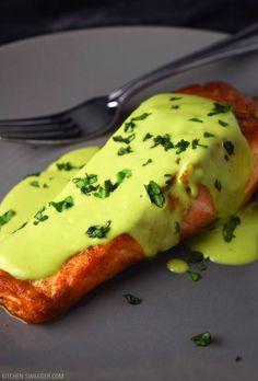 Pan-Seared Salmon with Creamy Avocado Sauce by kitchenswagger #Salmon #Avocado #Healthy