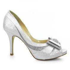 4a6c60a69 Sapato Peep Toe Noiva Feminino Laura Porto -Prata