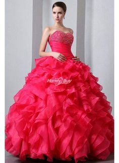 Sweetheart Lace up Organza Floor Length Layer Ball Gown Fuchisa Prom Dress