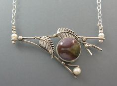 Branch necklace with fancy agate set among fern leaves with dewdrops and pearls - handcrafted by Kryzia Kreations