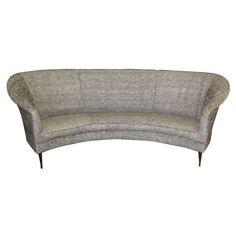 1950 S Italian Curved Back Sofa On Metal Legs