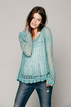 $98.00 Free People Womens Annabelle Crochet Pullover