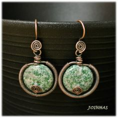 Copper wire earrings with green spot agate   Length - 4 cm