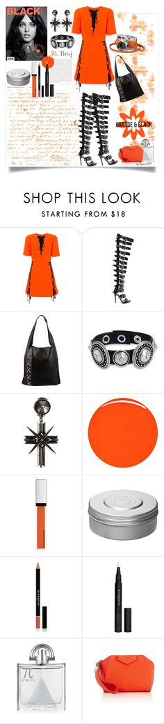 """Orange & Black"" by emperormpf ❤ liked on Polyvore featuring FAUSTO PUGLISI, Elena Ghisellini, RGB Cosmetics, Givenchy and Hermès"