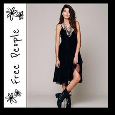 Free Free People velvet burnout slipdress Perfect holiday dress in sheer black velvet burnout featuring an elegant paisley pattern..pretty net inserts on skirt, great layering piece can dress up with heels or casual with boots, will need a slip under.. Free People Dresses