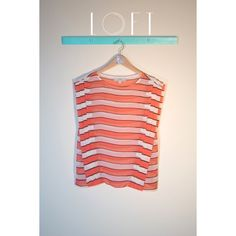 LOFT Striped Blouse A salmon pink and white striped blouse with three large vertical pleats. The dolman blouse is sheer. Size small petite. LOFT Tops Blouses