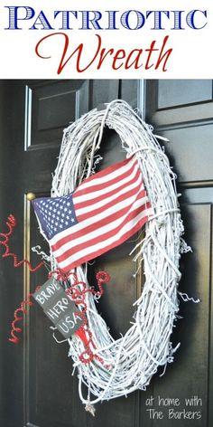 DIy Spray painted white grapevine Patriotic Wreath, American Flag, Memorial Day