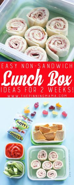 Pizza Roll Up Lunch box idea - Just one of 2 weeks worth of non-sandwich school lunch ideas that are fun, healthy, and easy to make! Grab your lunch bag or bento box and get started!