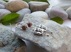 Boucles d'oreilles en perles de jaspe léopard, bijoux gouttes gemmes, bijoux en pierres naturelles : Boucles d'oreille par lapassiondisabelle