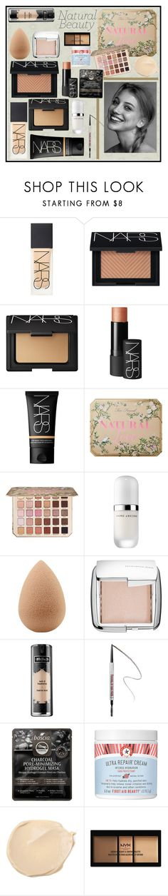 """""""Natural"""" by bitty-junkkitty ❤ liked on Polyvore featuring NARS Cosmetics, Too Faced Cosmetics, Marc Jacobs, beautyblender, Hourglass Cosmetics, Kat Von D, Benefit, Boscia and NYX"""