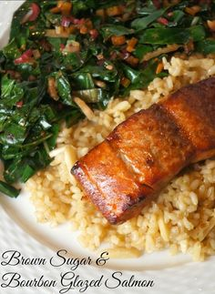 brown sugar and bourbon glazed salmon // A Healthy Slice of Life (Amazingly simple and delicious! I used Brandy instead of Bourbon. Could have made a lil less marinade for of salmon) Baked Salmon Recipes, Fish Recipes, Seafood Recipes, Healthy Recipes, Yummy Recipes, Seafood Dishes, Healthy Meals, Recipies, Healthy Eating
